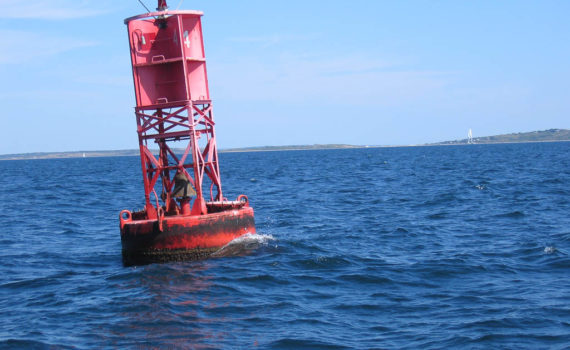 Buoy marking the approach to Cuttyhunk and the turn up Buzzards Bay