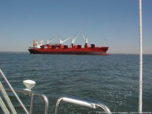 One of the many commercial vessels plying the waters of the Long Island Sound...