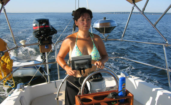 Ada at the helm heading for Fishers Island