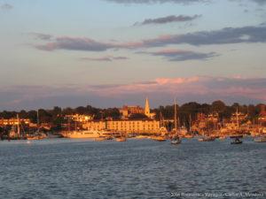 Newport as seen from Goat Island Marina as the sun set