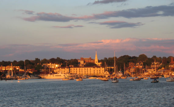Newport as seen from Goat Island Marina as the sun set