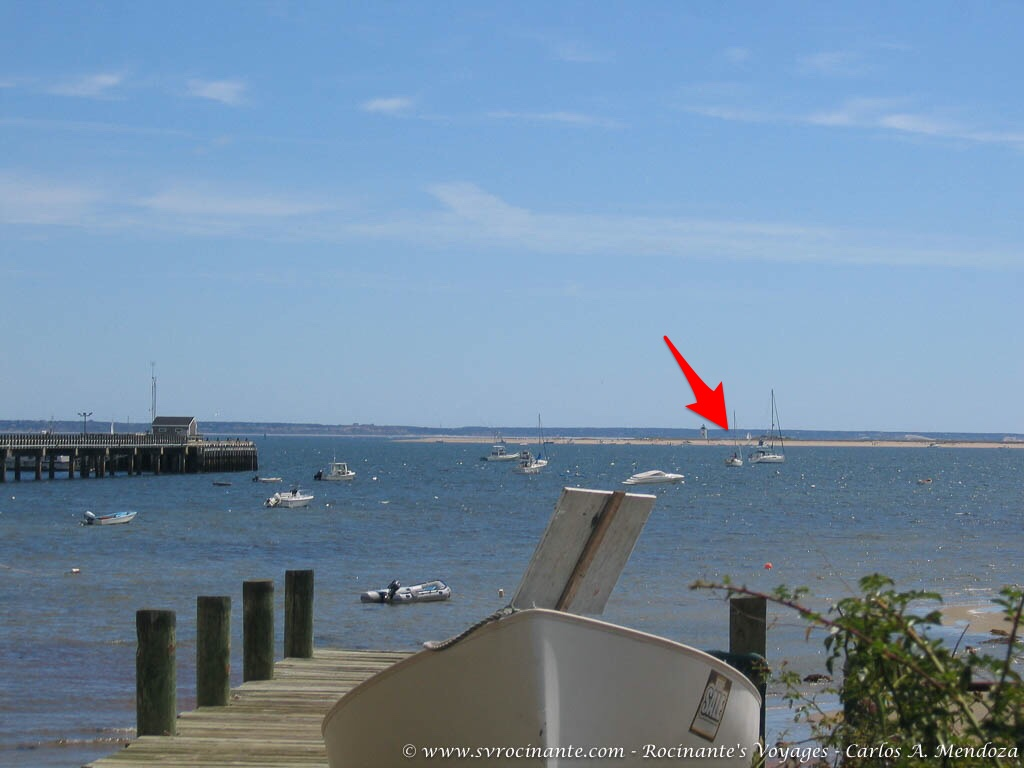 Rocinante on her mooring in Provincetown.